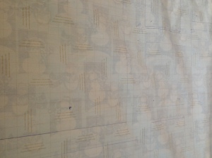 This shows the paper with the outline of the frames and the markings to show where the nails should go.